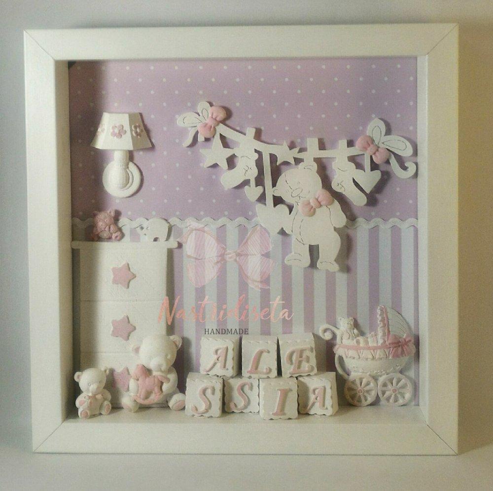 Quadretto nascita realizzato a mano con dettagli in polvere di ceramica. Una originale idea regalo per nascita,baby shower,cameretta.