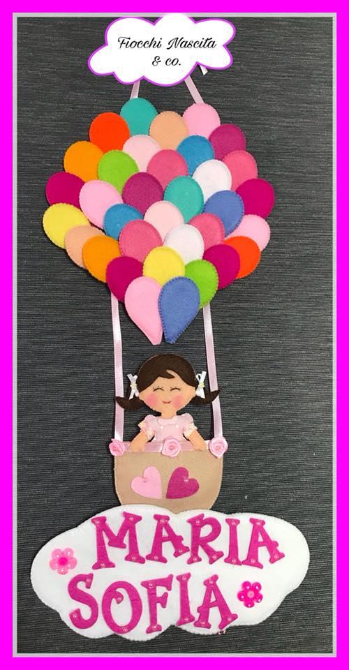 Fiocco nascita palloncini colorati