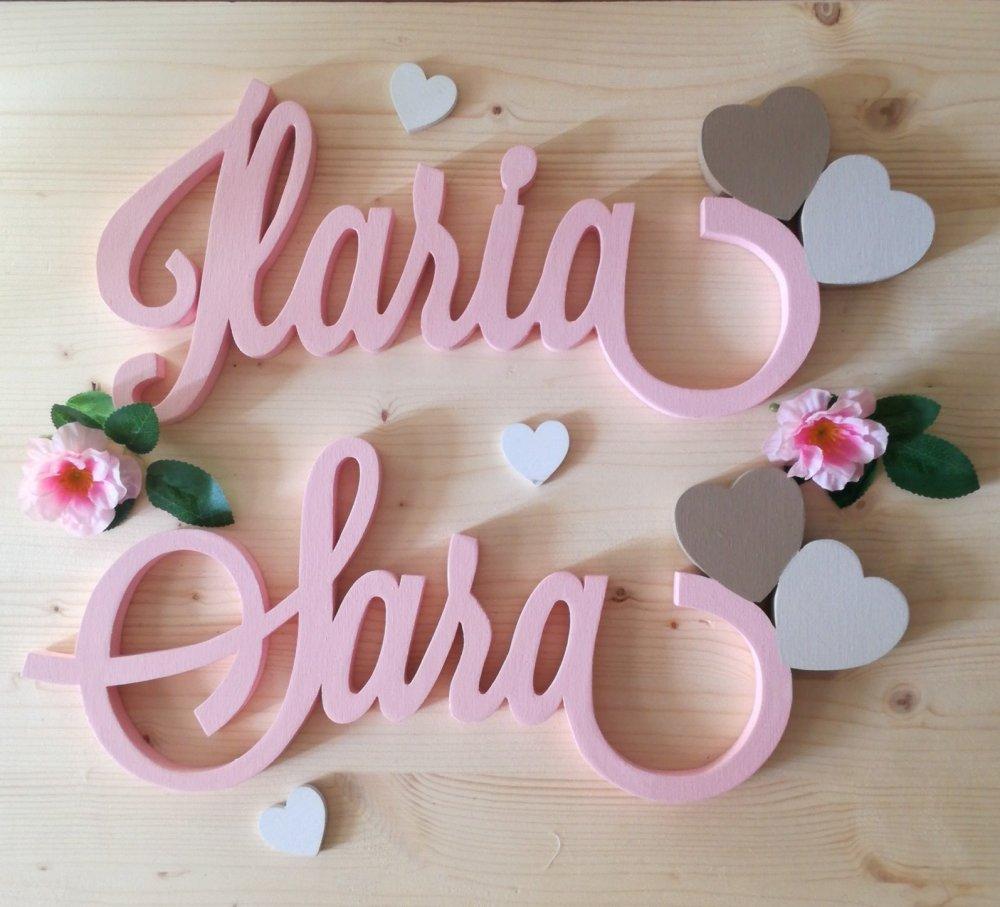 Scritta in legno personalizzata con doppio cuore