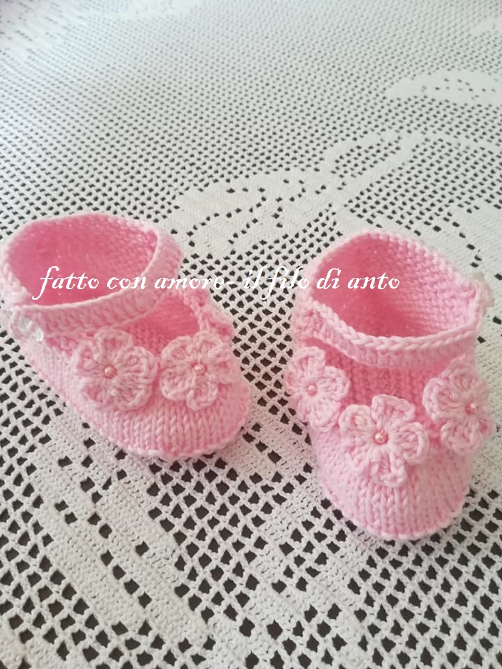 Scarpine bambina con fiori rosa