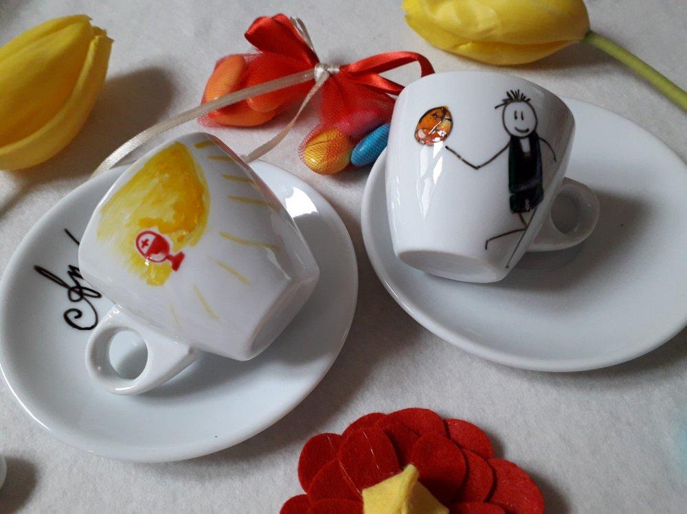 Bomboniera coppia tazzine da caffè dipinte a mano