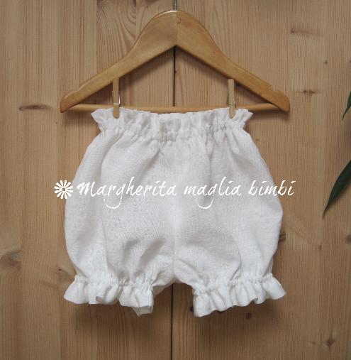 Culotte/copripannolino neonata/bambina in puro lino bianco - fatte a mano - Battesimo