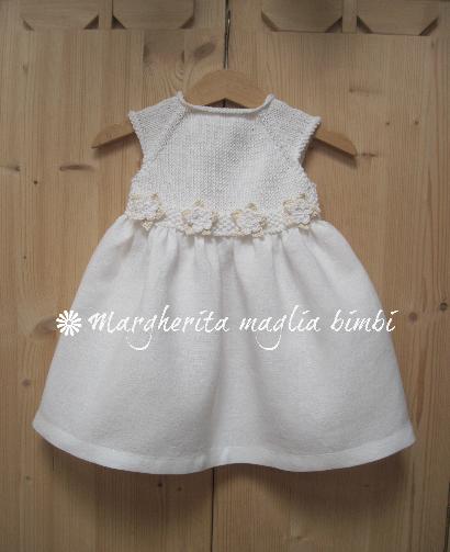 Abito neonata/bambina - cotone bianco/panna e puro lino bianco - Battesimo - fatto a mano