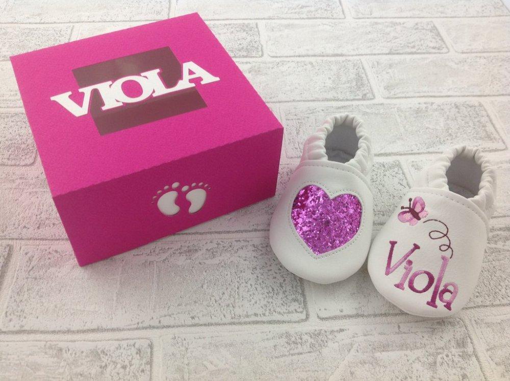 Scarpine ecopelle Cuore Glitter Fuxia personalizzate con nome - Confezione personalizzata - Bimba Neonata 3/6 mesi