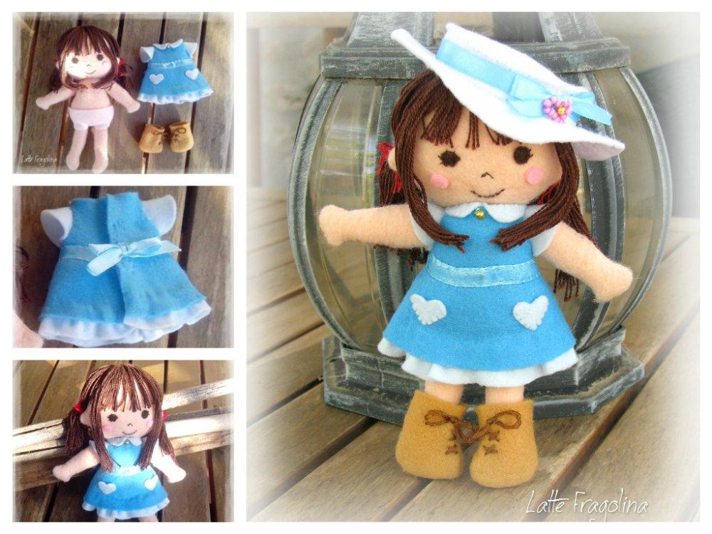 Bambolina in pannolenci con vestito è rimovibile! Felt pocket doll.