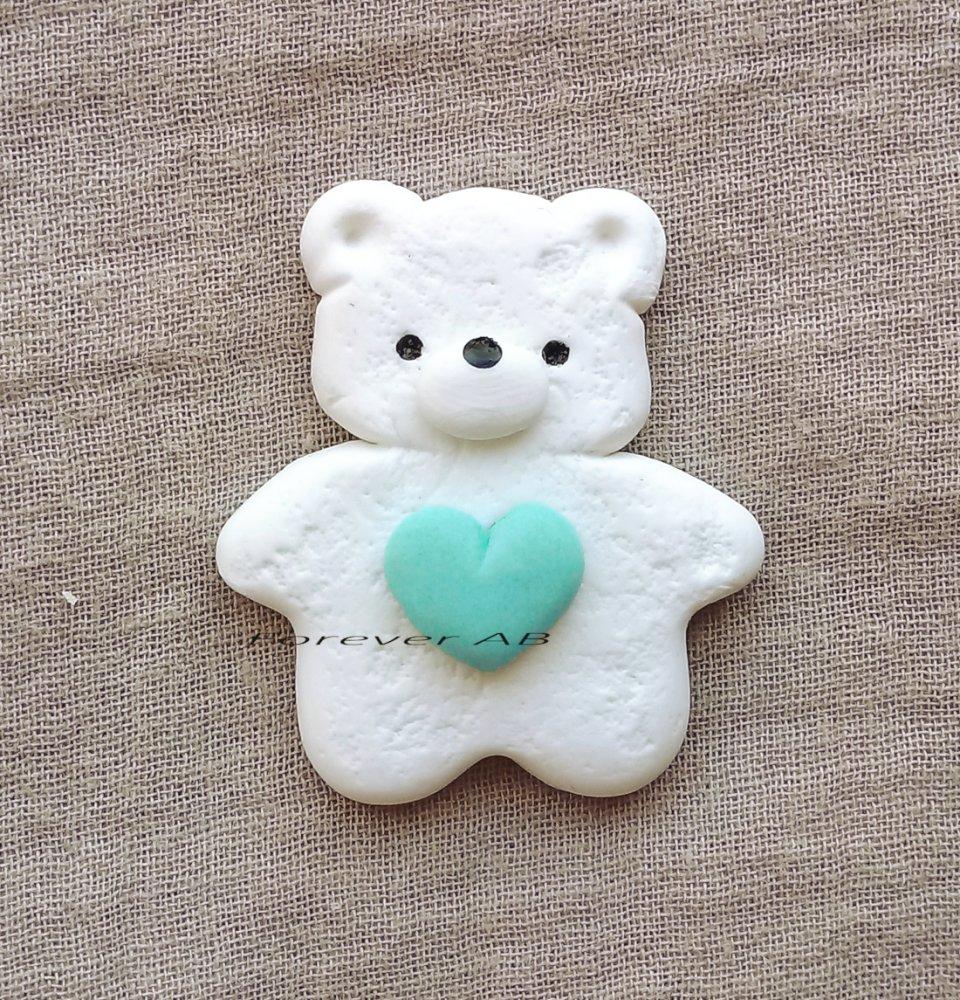 Orsetto bianco con cuore bimbo nascita battesimo compleanno bomboniere bomboniera