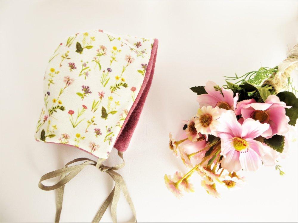 Cuffietta neonata a fiori in cotone biologico