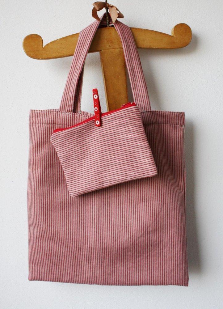 borsa shopping bag di velluto a righe rosse, borsa a due manici, shopper di velluto