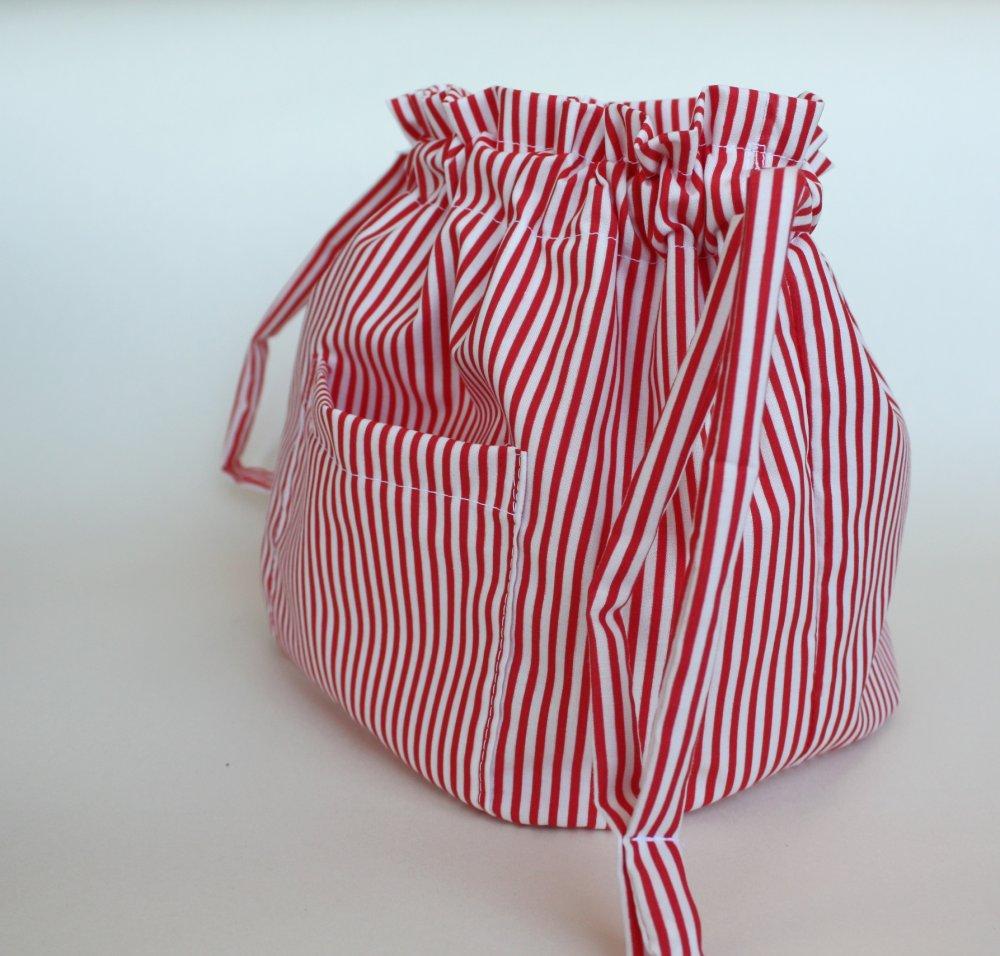 trousse cambio borsa in cotone e righe rosse, sacchetto portatutto,