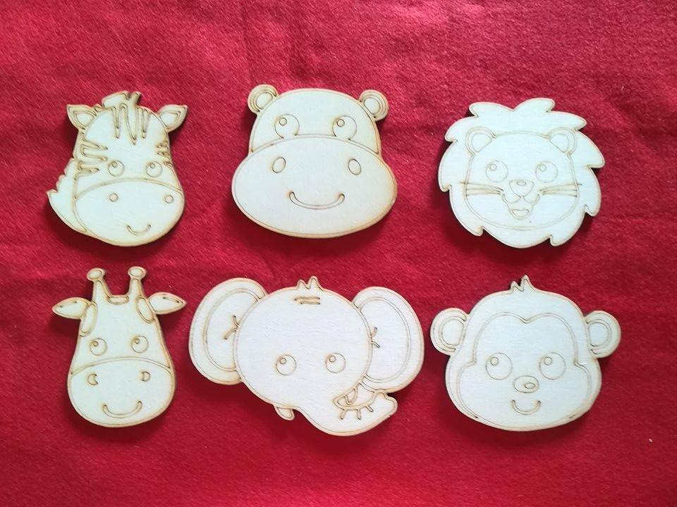 Gioco in legno sagome in legno da colorare animali della savana per bambini e per tutta la famiglia ColorAmiamoli