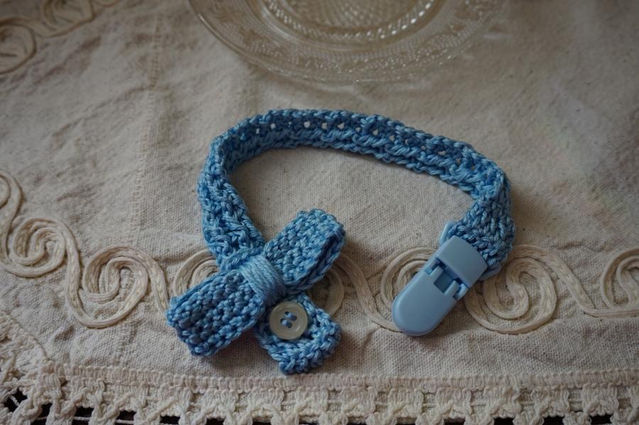 Portaciucco azzurro. Cotone con papillon