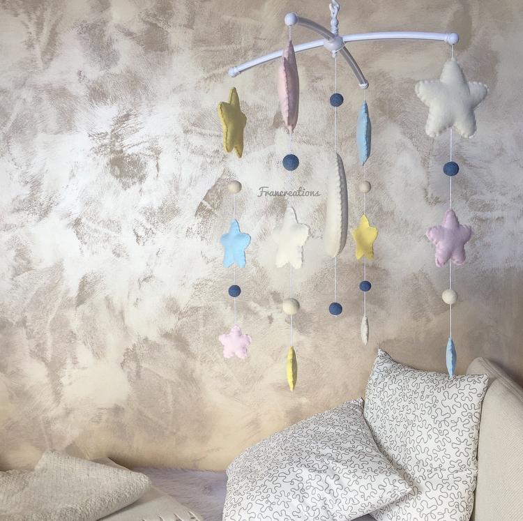 Giostrina da culla - Giostrina culla luna e stelle - Decorazione lettino - Giostrina per il lettino