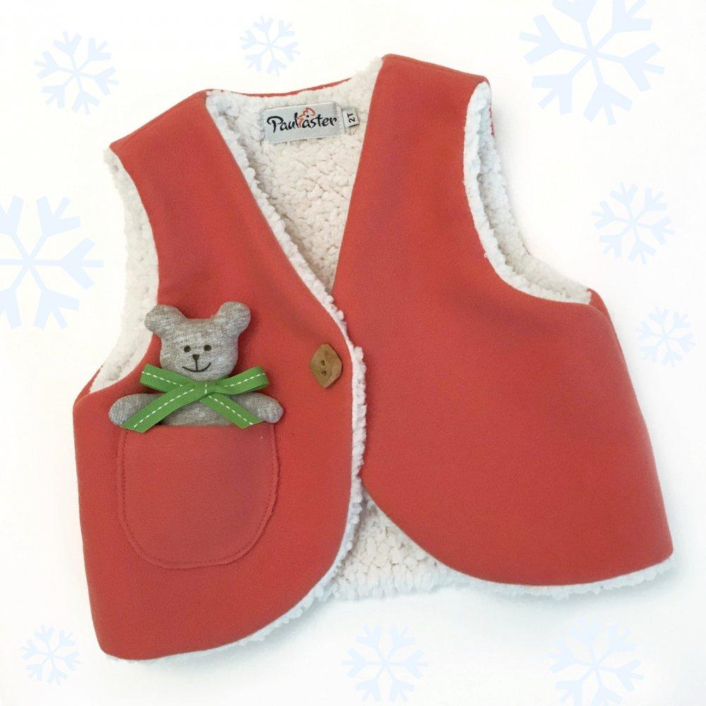 Gilet bimba - Baby gilet - Gilet in panno e morbido orsetto