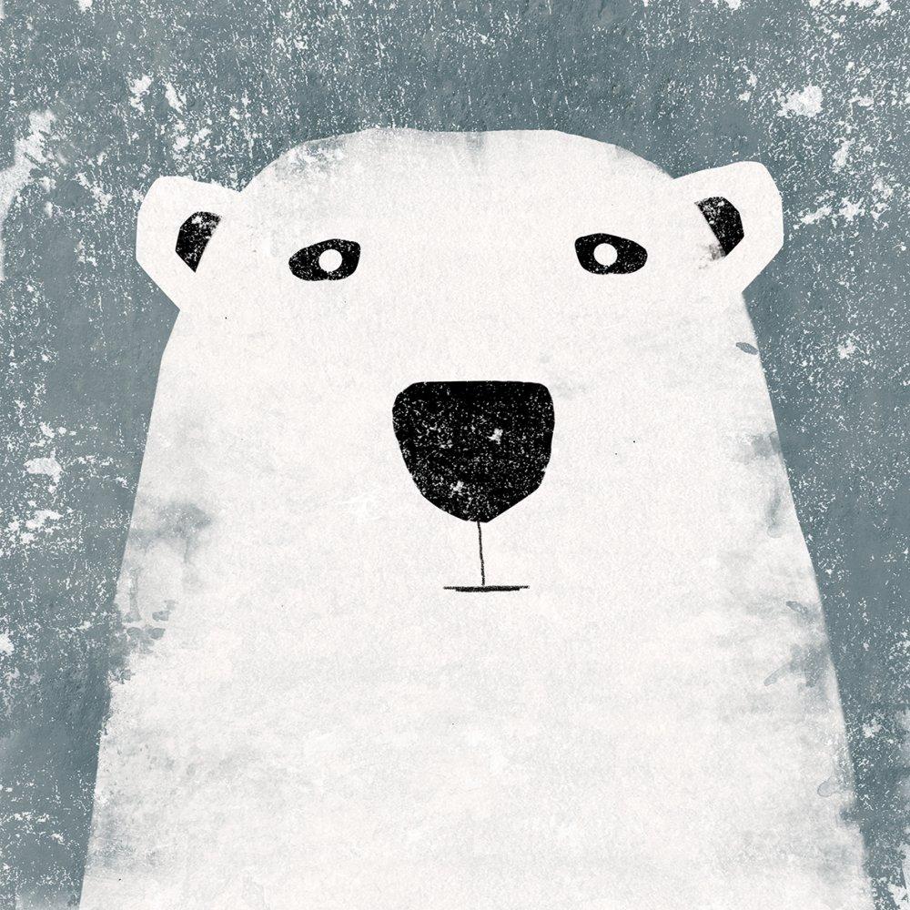 Boris orso bianco, stampa su legno quadro illustrazione