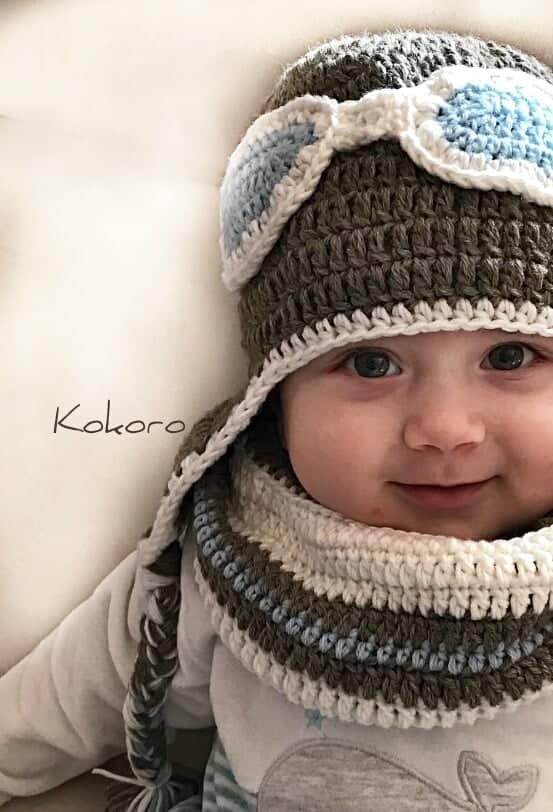 Completo Cappello con paraorecchie e scaldacollo da bambino, in lana.  Modello da Aviatore