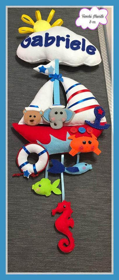 Fiocco nascita barca con animaletti