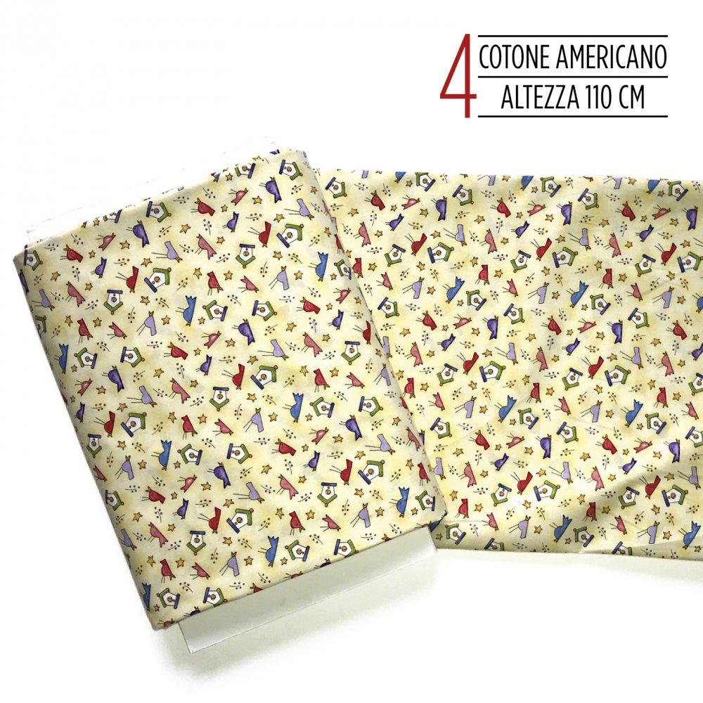 tessuto americanocon casette e uccellini
