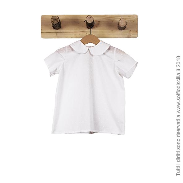 Camicia di cotone leggero bianco floccato