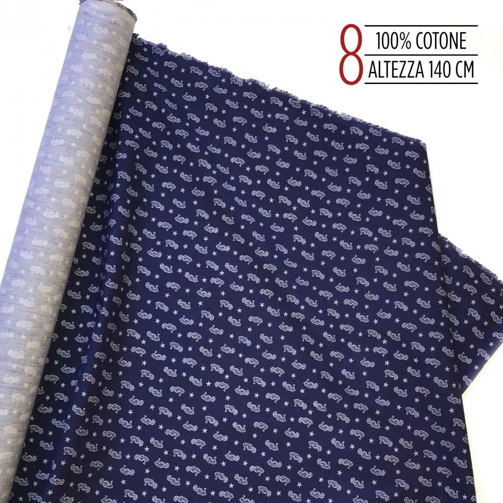 tessuto 100% coto blu con cavallucci marini
