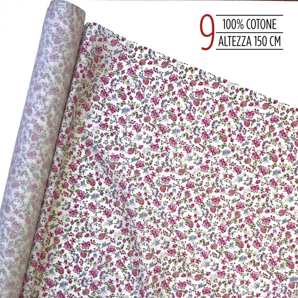 Tessuto 100% cotone a fiori