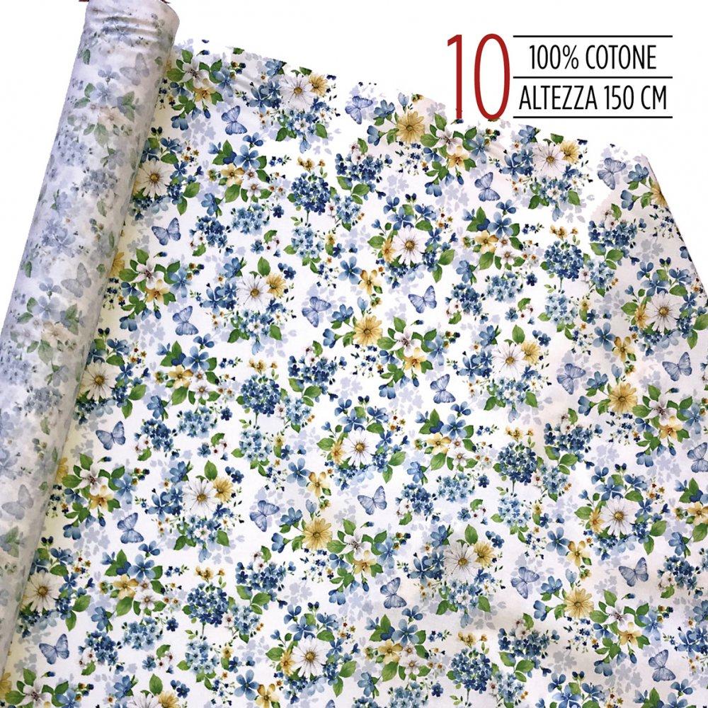 Tessuto 100% cotone a fiori azzurri