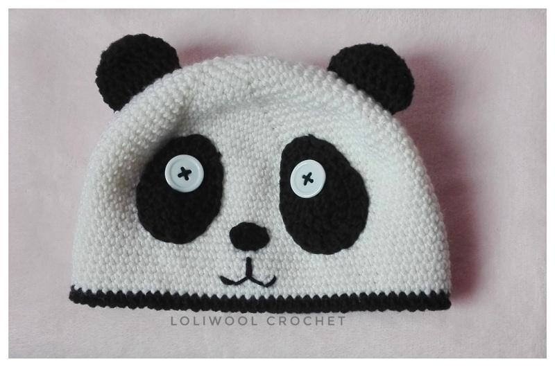 Cappello Orso Panda all'uncinetto