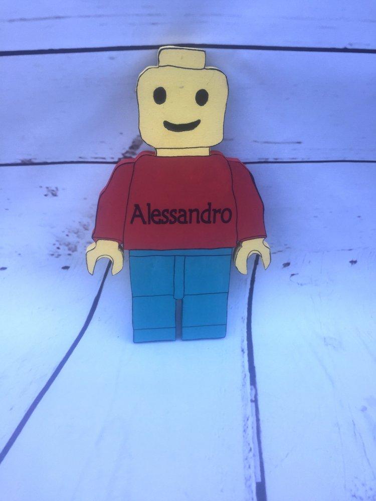 decorazione in legno Lego minifigure personalizzata