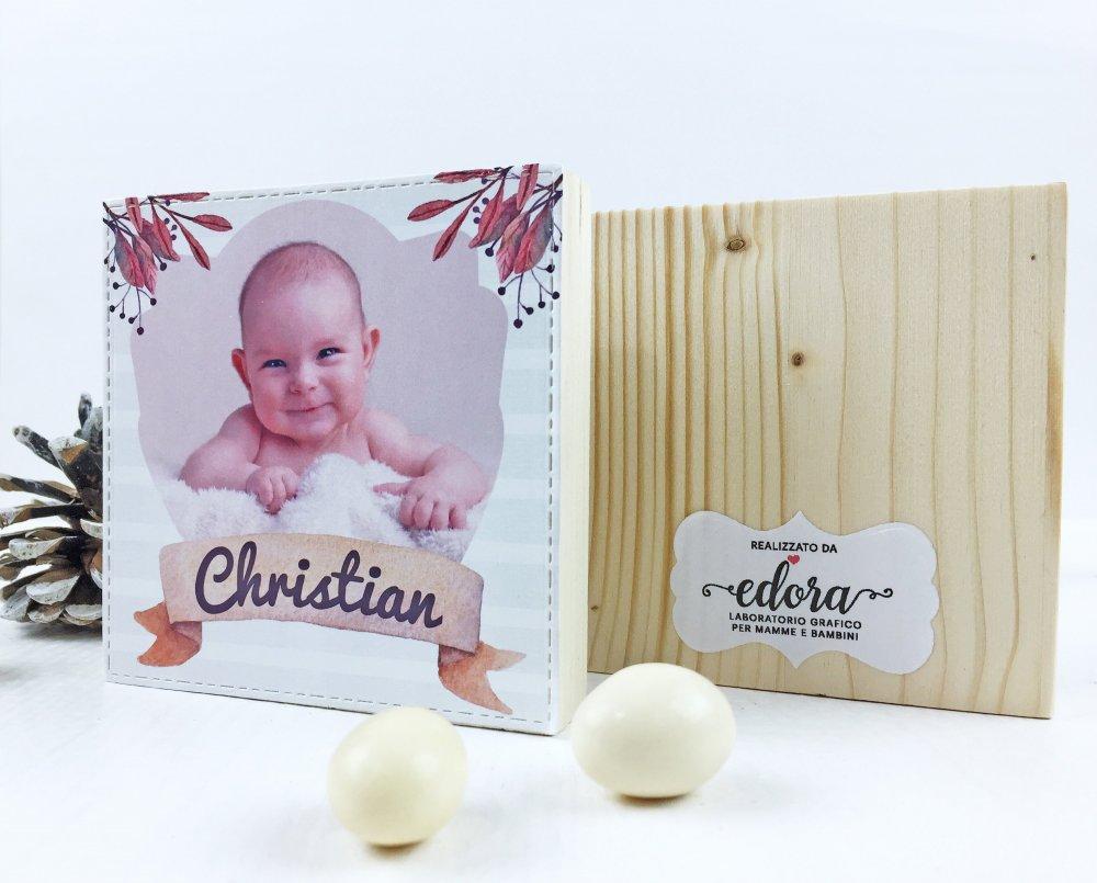 Bomboniera battesimo originale quadretti in legno con foto/portafoto bimbo bimba