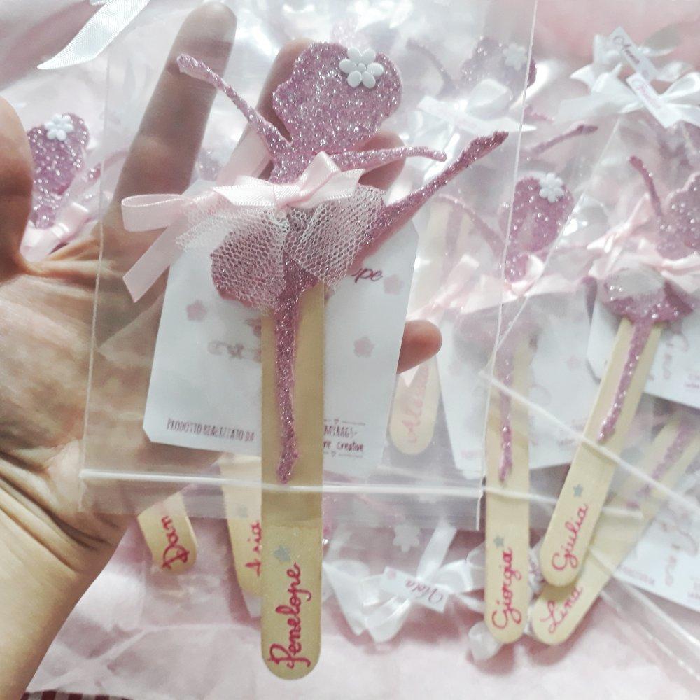 Bomboniera ballerina rosa glitter segnalibro