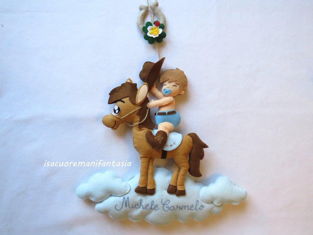 Fiocco nascita baby cowboy - Fiocco nascita cavallino - Fiocco nascita personalizzato
