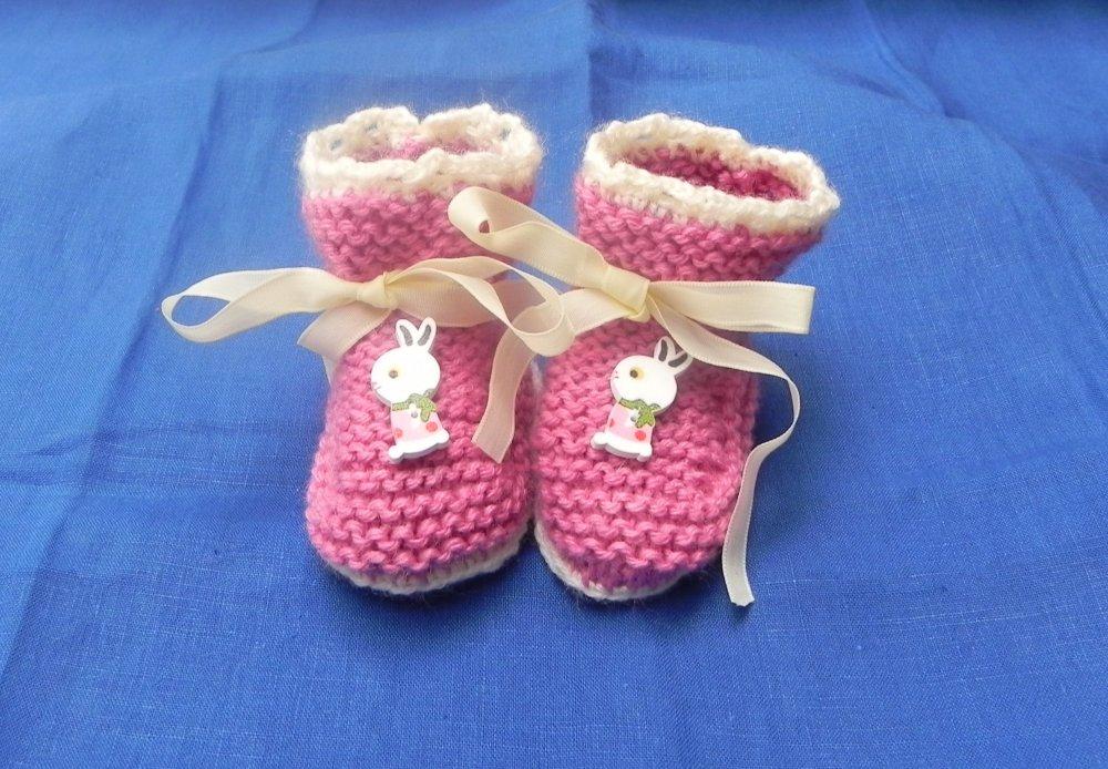 Scarpette neonato realizzate ai ferri