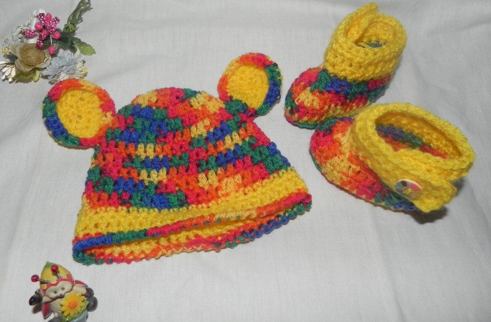 Cappellino e scarpette bebè multicolore NEONATO