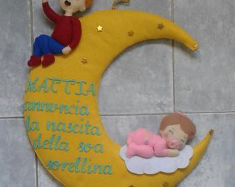 Fiocco di nascita ghirlanda a luna con delle stelle, coccarda nascita, regalo di nascita