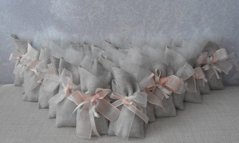 Sacchetto bomboniera  porta confetti in lino con nastri in raso e organza per matrimonio battesimi comunioni e cresime