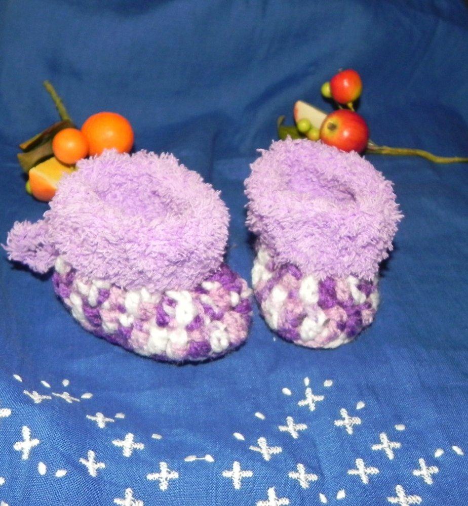 Scarpette NEONATO  con pelliccetta lilla