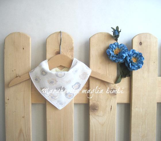 Bavaglino/bandana per bambino/neonato - puro cotone - bianco/uccellini - fatto a mano