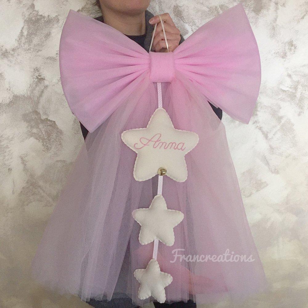 Fiocco in tulle per la nascita - Fiocco nascita di tulle - Fiocco rosa - Fiocco nascita bambina