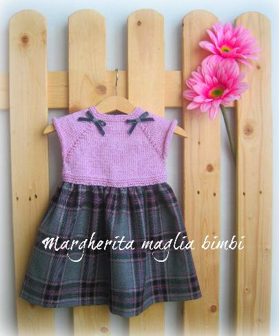 Abito neonata/bambina - lana merino rosa e pura lana scozzese - fatto a mano - 18 mesi