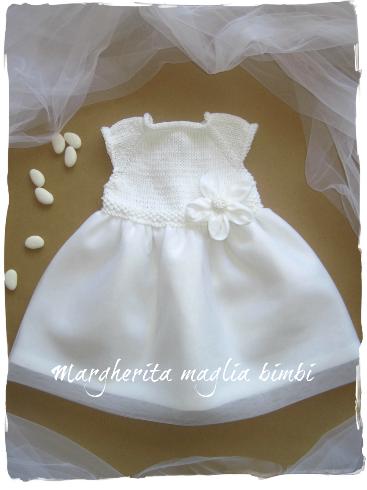 Abito bambina cotone e lino bianco con tulle - fatto a mano - Battesimo