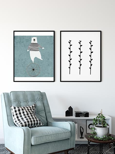 illustrazione orso stampa per cornice