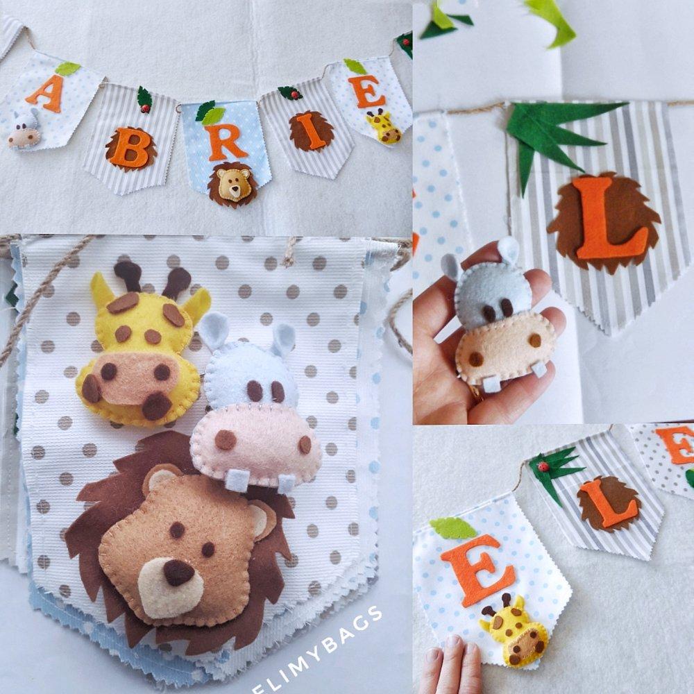 Banner di stoffa tema savana e animali giungla con nome e bandierine da appendere nella cameretta dei bambini
