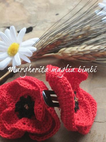 Fermaglio papavero uncinetto fatto a mano in cotone - fermaglio per capelli - fiore