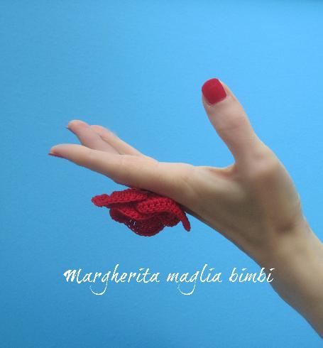 Anello papavero uncinetto fatto a mano in cotone - idea regalo donna - fiore