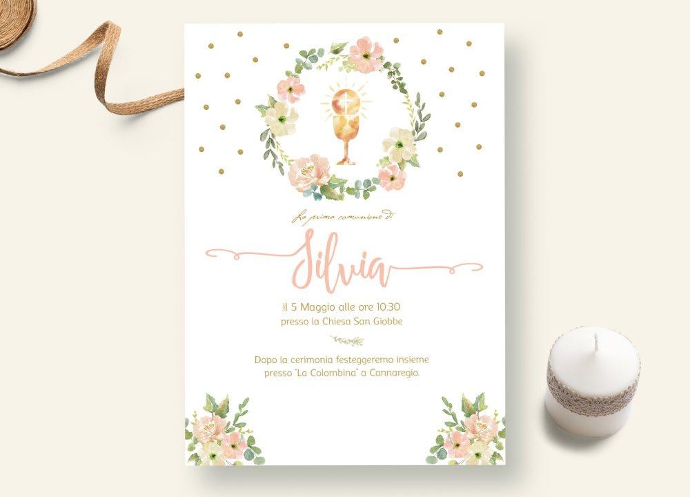 Invito prima comunione invio whatsapp, invito comunione digitale, biglietto comunione da stampare, invito comunione bambina fiori oro e rosa