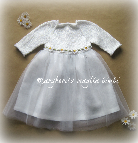 Abito bambina - cotone/lino/tulle bianco- margherite uncinetto - vestito Battesimo - fatto a mano