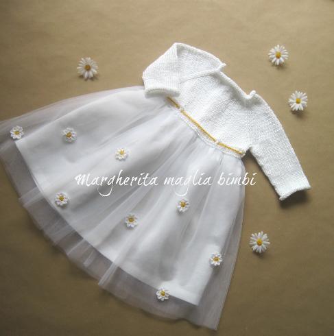 Abito bambina/vestito Battesimo bianco - cotone/lino/tulle decorato a margherite uncinetto