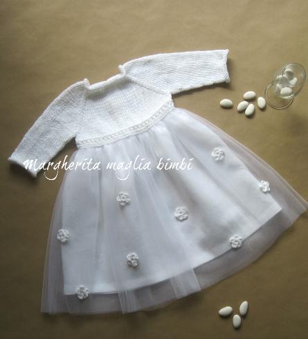 Abito bambina cotone/lino/tulle bianco e fiori bianchi  - fatto a mano - Battesimo