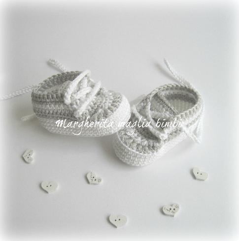 Scarpine  neonato/sneakers cotone bianco/grigio - uncinetto  - Battesimo