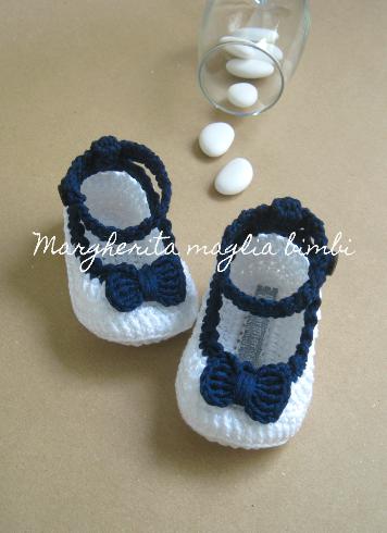 Scarpine ballerine bambina  - cinturino e fiocco - cotone bianco e blu - uncinetto - Battesimo