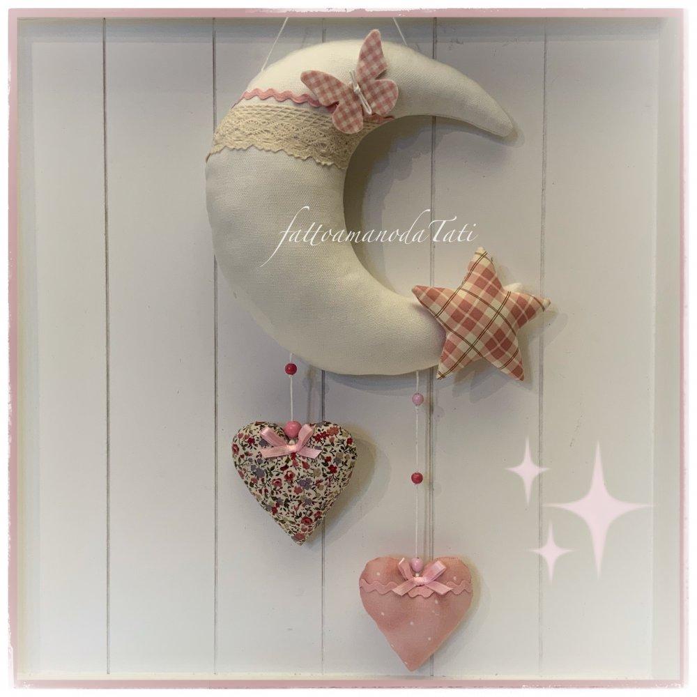 Fiocco nascita luna in cotone panna con farfalla,stella e due cuori sul rosa